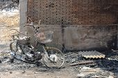 picture of fire insurance  - Burnt motocycle or Insurance matters can use as background - JPG