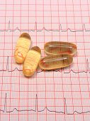 picture of electrocardiogram  - Electrocardiogram graph and pills ekg heart rhythm medicine concept - JPG