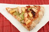 picture of doughy  - slice of pizza with different types of toppings - JPG
