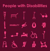 foto of disabled person  - It is a set of people with disabilities simple web icons - JPG