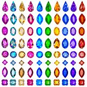 foto of precious stone  - illustration set of precious stones of different cuts and col - JPG