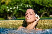 picture of relaxing  - Beautiful relaxed woman enjoying spa pool at resort in Thailand - JPG