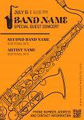 foto of sax  - vector orange brown jazz music concert sax music flyer template minimal design - JPG