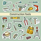 picture of hand-barrow  - Big cartoon set of operating tools - JPG