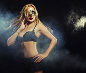 pic of stripping women window  - young sexy woman in black lingerie wearing mask - JPG