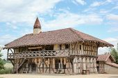 stock photo of farm-house  - Typical Bresse farm house in Courtes - JPG