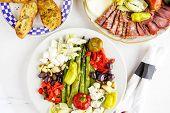 picture of antipasto  - Appetizers plate with vegetarian antipasto in Italian restaurant - JPG