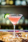 image of cosmopolitan  - Pink cosmopolitan cocktail prepared at the bar - JPG