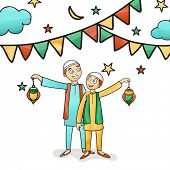 stock photo of occasion  - Illustration of happy cute kids celebrating and enjoying on occasion of islamic holy month - JPG