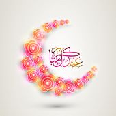 pic of moon-flower  - Shiny flowers decorated crescent moon with Arabic Islamic calligraphy of text Eid Mubarak on grey background for Muslim community festival celebration - JPG