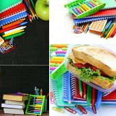 stock photo of school lunch  - collage school stationery and  lunch box  - JPG