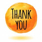 pic of thankful  - Thank you card with orange watercolor circle - JPG