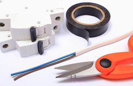 pic of wire cutter  - Cable cutter electric wire and fuse insulating tape lying on white background accessories for engineer jobs repair of cable - JPG