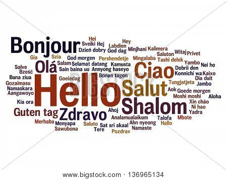 Vector concept or conceptual abstract hello or greeting international word cloud in different langua