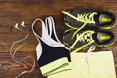 Постер, плакат: Green Sneakers Shorts And Sport Bra