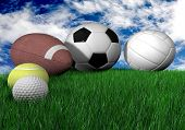 sports balls on grass - horizontal - made in 3d