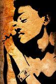 Pared de Grunge con el rostro de la mujer africana