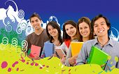 Group of college students with a colorful background