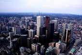 TORONTO CITY SKYLINE WITH CURVE OF EARTH AND TELL BUILDINGS AND SKYSCRAPERS