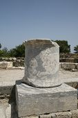 picture of akropolis  - ruin of stone column in Akropolis Lindos Greece - JPG