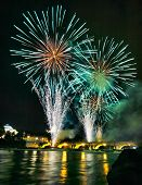 Fireworks display in the Italian city of Turin over the river Po