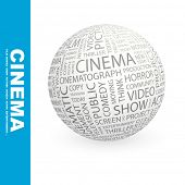 CINEMA. Globe with different association terms.