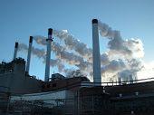 Power Plant Smoking Chimney Stacks