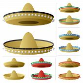 picture of sombrero  - A sombrero in 2 positions and 6 color variations. 