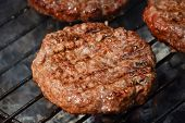 Meat Burgers For Hamburger Grilled On Grill poster