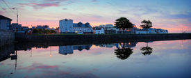 stock photo of claddagh  - Panoromic view of Galway city in the Morning Claddagh - JPG