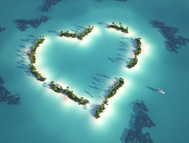 foto of heart shape  - aerial view of heart shaped island with yacht as concept for romantic vacation - JPG