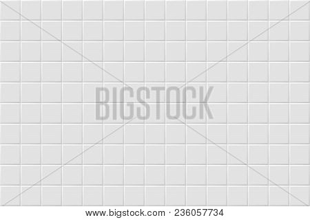 poster of Vector White Modern Abstract Background With Light Gray Mat Square Tiles Pattern. Seamless Mosaic Te