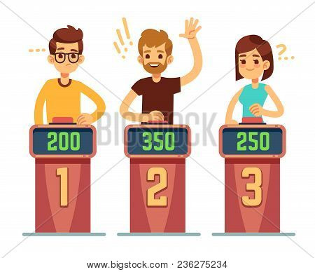 People Answering Questions And Pressing Buttons On Quiz Show  Conundrum  Game Competition Vector Conc poster