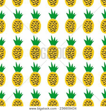 poster of Cute Cartoon Summer Design With Hand Drawn Pineapples. Sweet Vector Colorful Summer Design. Seamless
