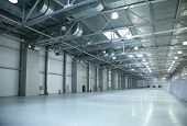 picture of construction industry  - the empty spacious light modern industrial hall - JPG