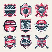Baseball Championship Vintage Isolated Label Set. Baseball League And Tournament Symbol, Sport Colle poster