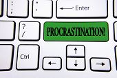 Handwriting Text Writing Procrastination Motivational Call. Concept Meaning Delay Or Postpone Someth poster