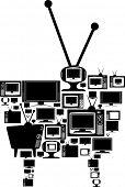 todos los tipos diferentes de tv establece formando un conjunto gigante ilustrado con siluetas negras