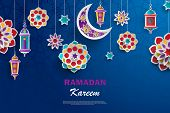 Ramadan Kareem Concept Banner With Islamic Geometric Patterns. Paper Cut Flowers, Traditional Lanter poster