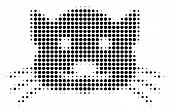 Kitty Halftone Vector Pictogram. Illustration Style Is Dotted Iconic Kitty Icon Symbol On A White Ba poster