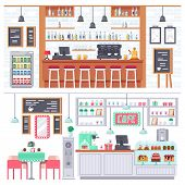 Set Of Interior Of Room Bar, Pub, Cafe. Bar Stand, Chairs, Shelves With Alcohol Products, Snacks, Dr poster