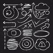 Doodle White Arrows And Chalk Design Stroke Scribble Elements. Sketch Circle, Line, Round Borders Ve poster