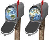 picture of eastern hemisphere  - The world delivered to a mailbox in eastern hemisphere and western hemisphere globe set - JPG