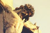 Jesus Christ In A Crown Of Thorns, Crucifixion. The Concept Of Faith In God poster