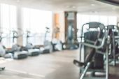 Gym Blur Background Fitness Center, Workout Personal Training Studio, Health Club With Blurry Sports poster