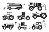 Monochrome Pictures Of Agricultural Machinery. Vector Machinery Equipment For Agricultural Illustrat poster