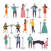 Concert And Music Groups. Vocal Duets. Musician And Singers Performances. Vector Singer And Musician poster