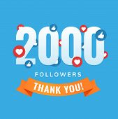 2000 Followers, Social Sites Post, Greeting Card Vector Illustration poster