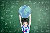 Educated School Kid Lifting World Globe Chalk Doodle Drawing On Green Chalkboard For Education Conce poster