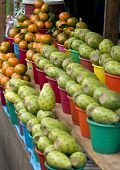 Cactus fruits and Mandarins in a Market in Chiapas Mexico